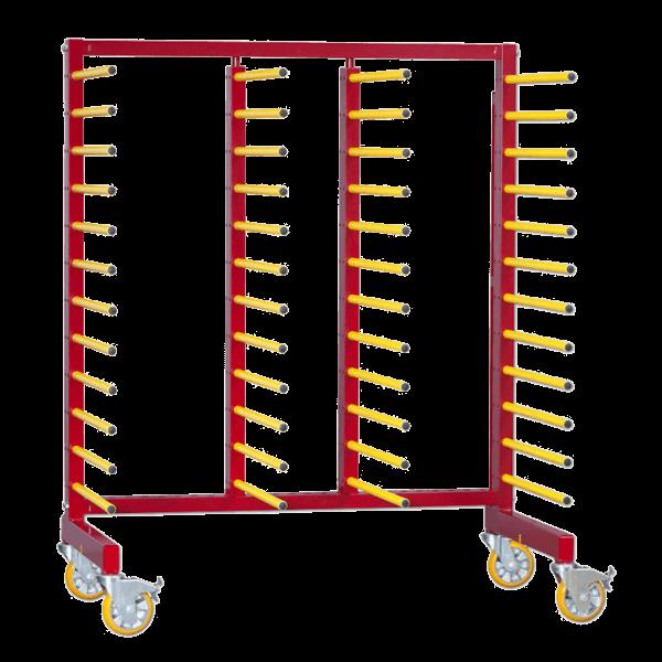 Chariot de stockage et transport pour pièces à peindre de tailles différentes