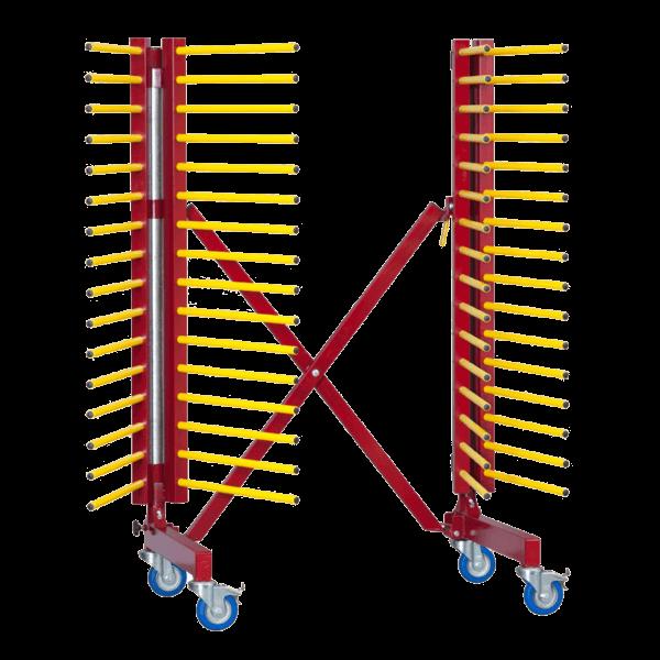 Chariot de stockage et transport pour pièces à peindre pliable