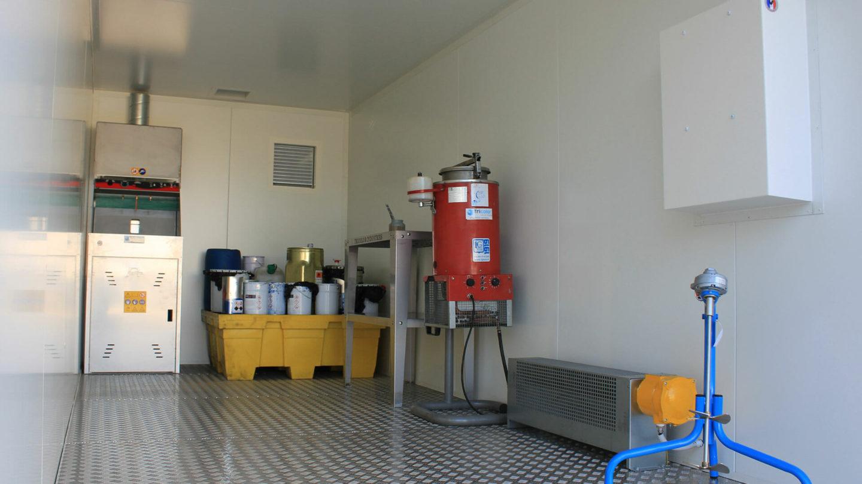 vue détail d'un container de préparation et stockage peinture
