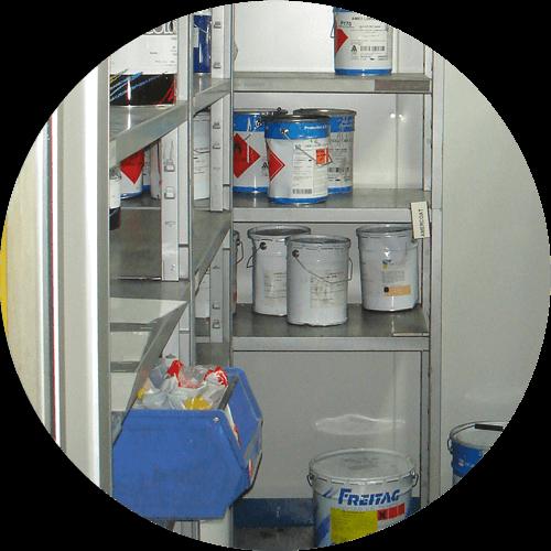 box de préparation stockage peinture