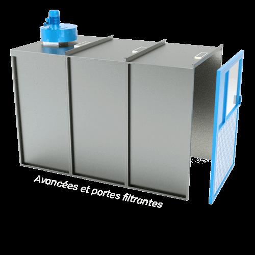 avancées et portes filtrantes pour agrandir ou fermer une cabine de peinture