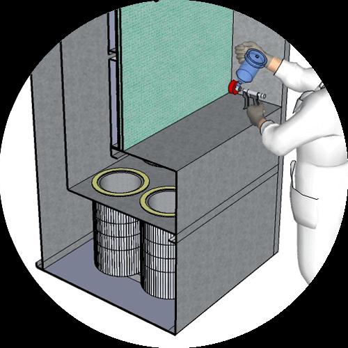 vue sur systeme de filtration d'une cabine de peinture au charbon actif