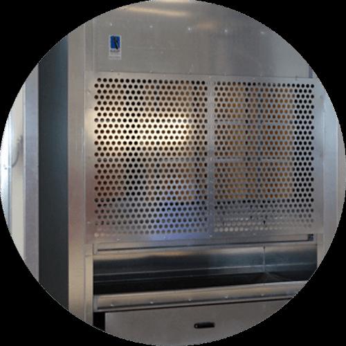 vue détail d'une cabine de poudrage industrielle