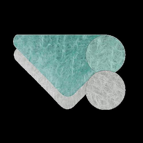 Vue en détail de filtres synthétiques et fibre de verre pour cabine de peinture